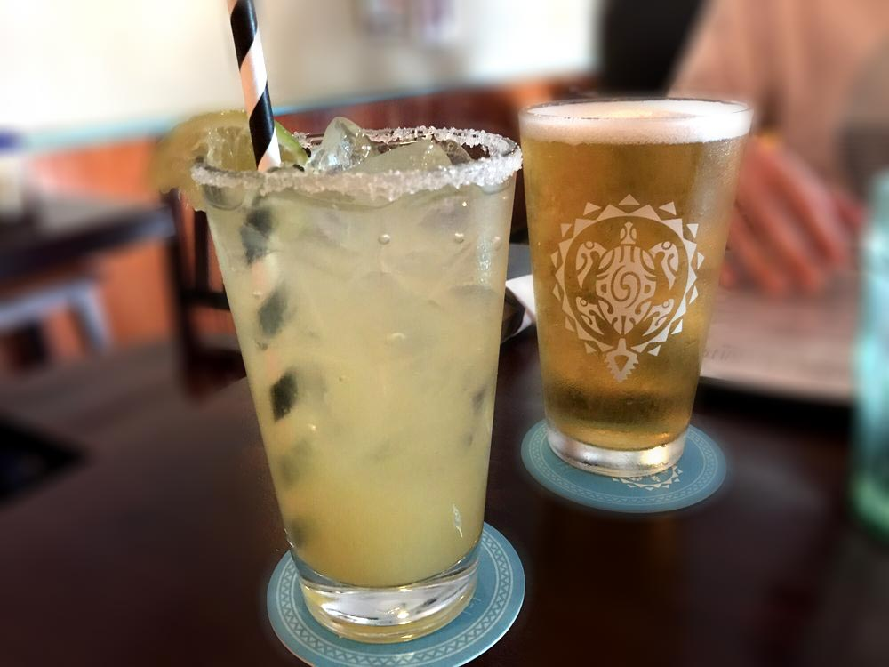 Margarita and local beer at Milagros Mexican Restaurant - Paia, HI